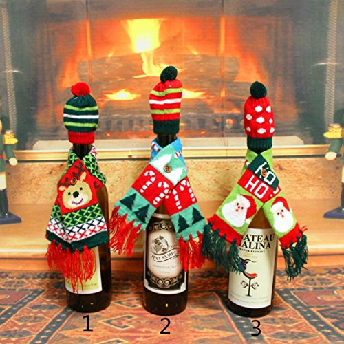 Gillberry 1Set Hat Scarf Wine Hold Bottle Cover Decoration Home Party Christmas (Media Storage Set Armoire)