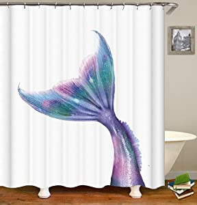 OCCIGANT Watercolor Mermaid Tail Shower Curtain,Hand Drawn Funny Purple Dreamlike Magic Princess Fish Beautiful,Durable Waterproof Mildew Proof Polyester Fabric Bathroom Decor Set with Hooks …