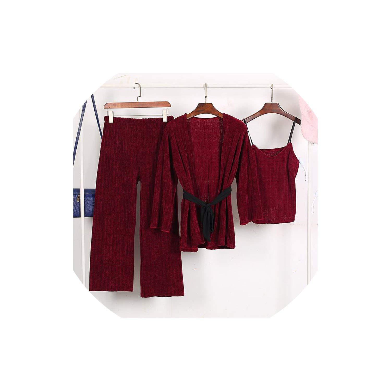 Claret Winter Women Thicken Warm Sleepwear 3 Pieces Female Sexy Solid Long Sleeve Homewear Pajamas Suit