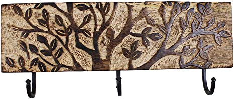Wall Mounted Key Rack Holder Hand Carved with 3 Hooks /& Tree of Life Patterns Mango Wood