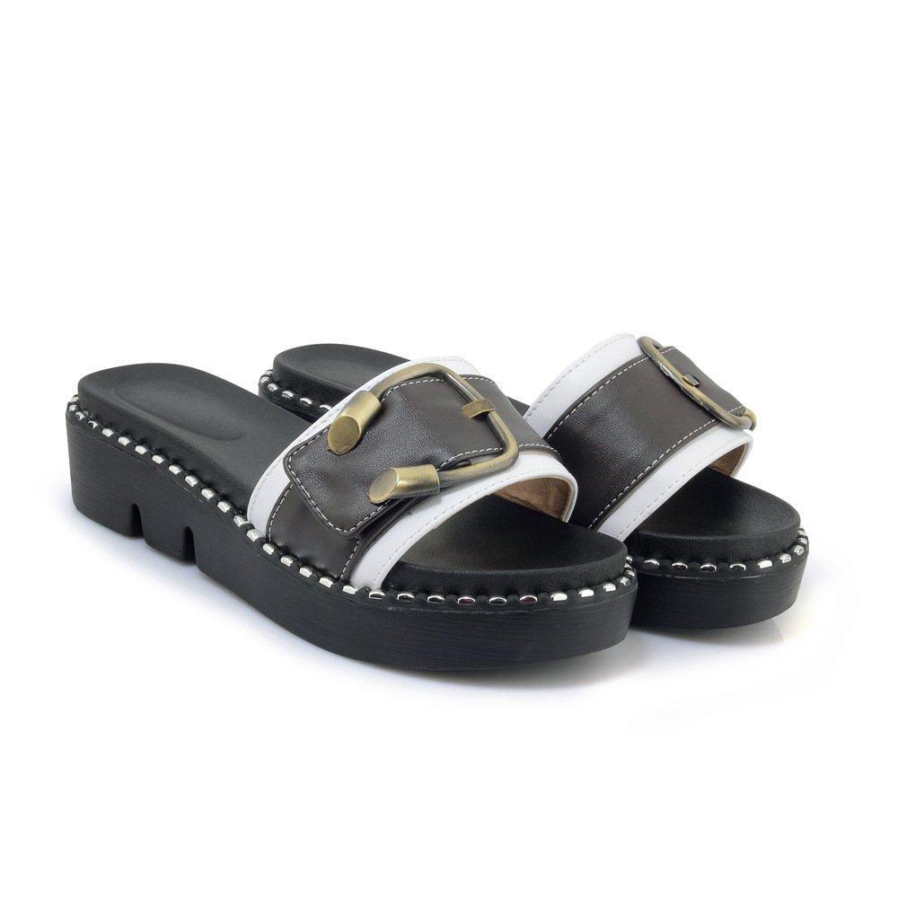 Sandales décontractées à pour Femmes, B000EDIMLW 12578 Chaussures à Talons, Pantoufles Blanc 5de1130 - deadsea.space
