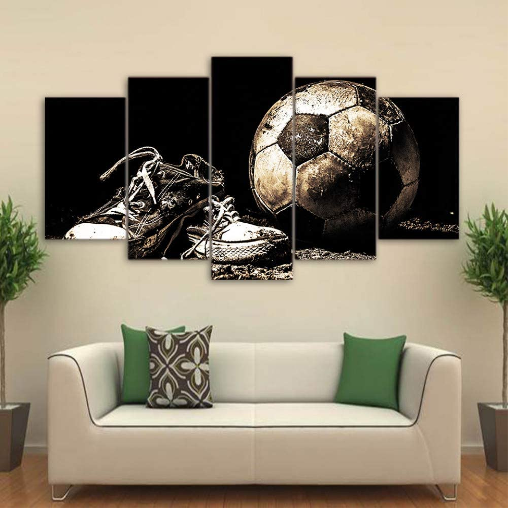 OUPDJ 5 Consecutive Paintings Artwork Poster HD Prints Home Decoration 5 Pieces Soccer Wall Art Sport Modular Living Room Background Pictures Canvas Painting