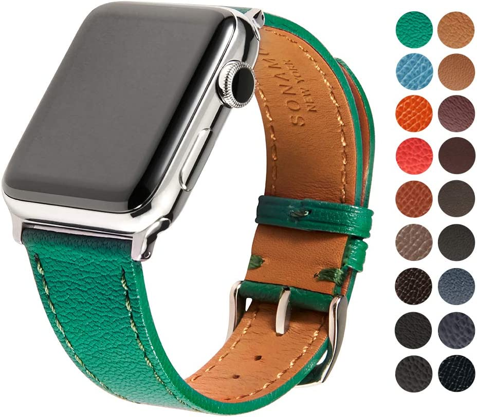 SONAMU New York French Bijou Premium Leather Strap Compatible with Apple Watch Band 38mm, Stainless Steel Clasp, Forest Green