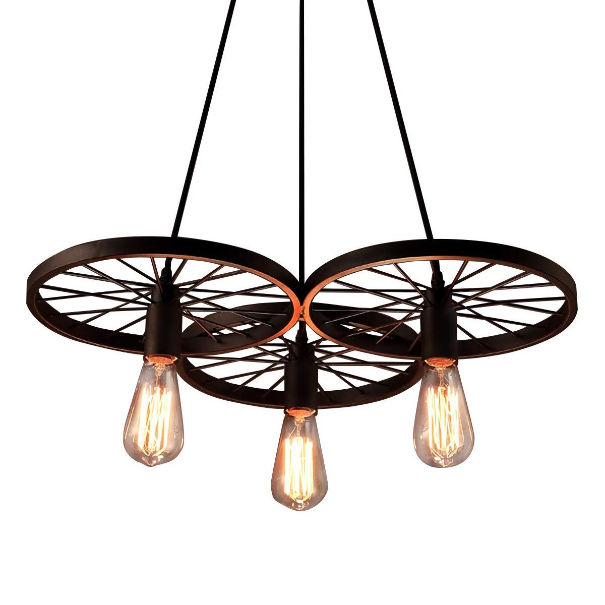 Electro_BP Antique Metal Art Large Barn Wheels Hanging Pendant Light Max 180W With 3 Lights Black Finish