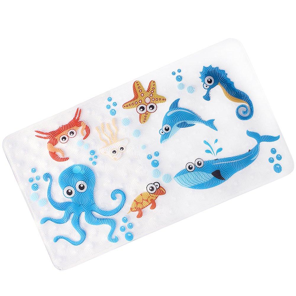 WARRAH Non-Slip Bath Mat Shower Mats Baby, Anti-Slip Mildew Resistant Children,Anti-Bacterial Anti-Slip-Resistant Bathroom Sticker Kids,Latex-Free,39cm/15in*70cm/27in (Dark Blue)