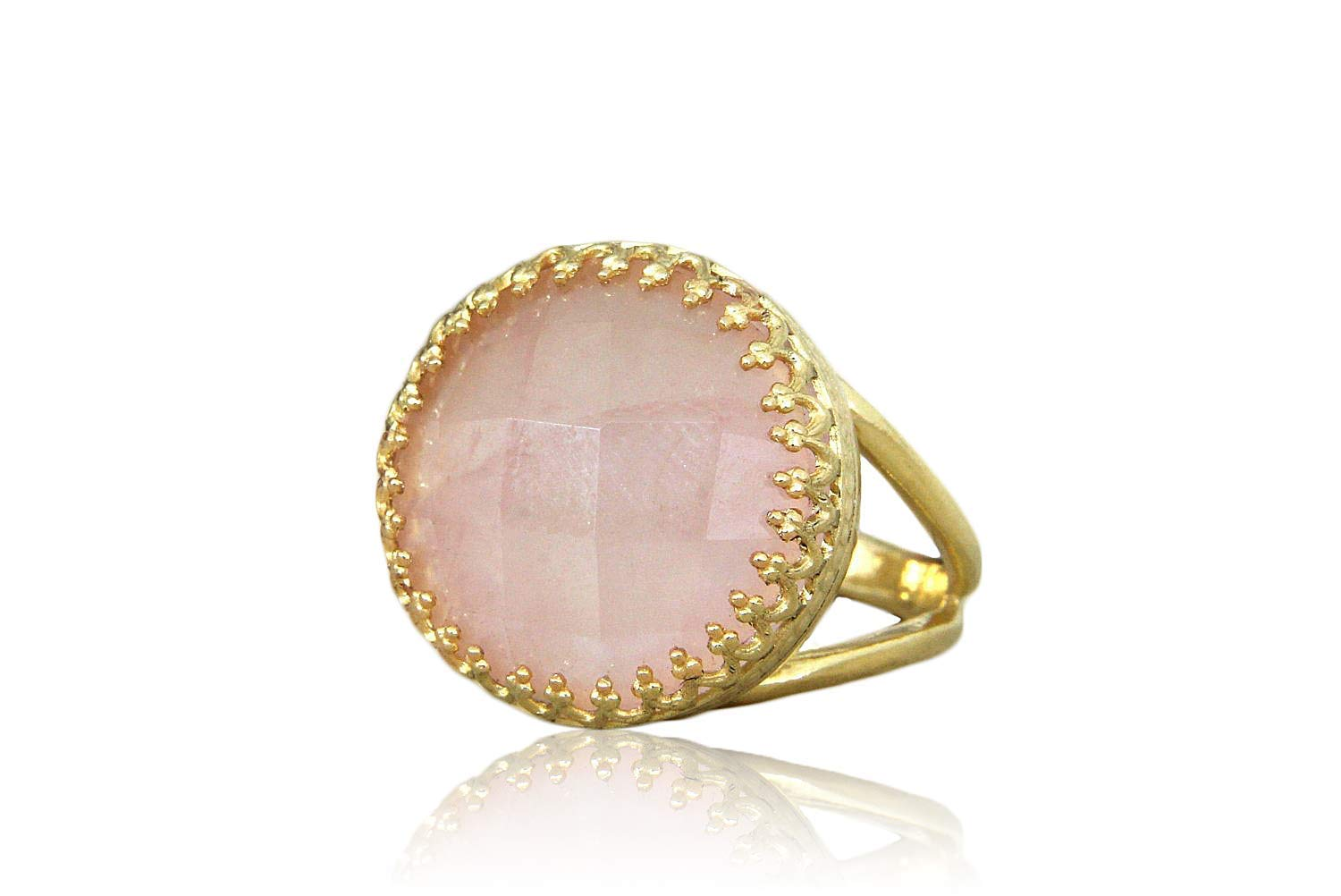 Elegant Handmade Jewelry Birthday Ring Bridal Ring Free Gift Box Casual Ring Sizes 3-12.5 Anemone Jewelry Charming Rose Quartz Ring in 14k Gold-filled Band Prom Ring