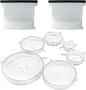 GENZA Silicone Stretch Lids Set of 6 and Food Storage Bags (2pcs) Starter Kit - Dishwasher, Freezer Safe, BPA Free, 100% Platinum Food Grade Silicone