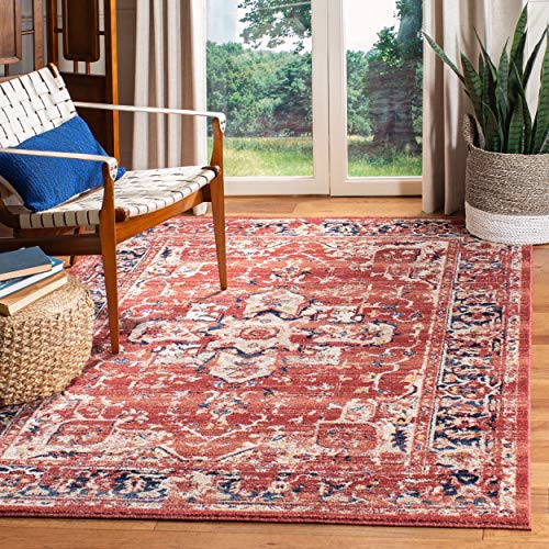 (Safavieh CHL411Q-9 Charleston Collection CHL411Q Red and Ivory (9' x 12') Area Rug,)