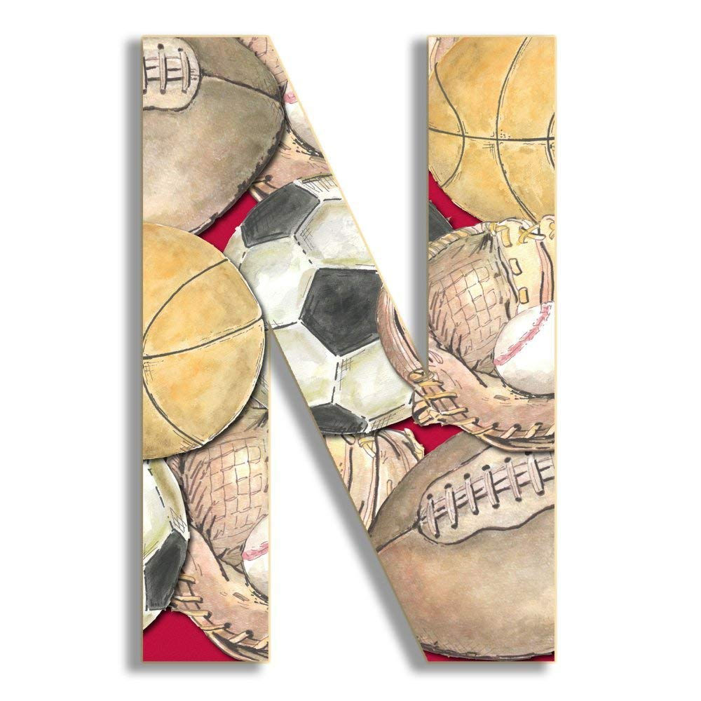 Stupell Home Décor Layered Sport 18 Inch Hanging Wooden Initial, 12 x 0.5 x 18, Proudly Made in USA by The Stupell Home Decor Collection