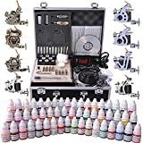 Tattoo Kit Complete with 8 Guns LCD Power Supply 54 Inks & Travel Case