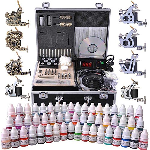 Tattoo Kit Complete with 8 Guns LCD Power Supply 54 Inks & Travel Case by AV PRIME