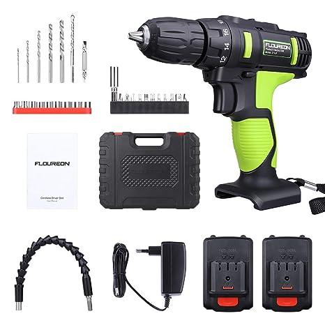 Taladro Atornillador, FLOUREON Taladro Inalambrico Professional 21V, Taladro Eléctrico sin Cable con 2 Baterías 1.5Ah de Litio, Conjunto de Accesorios ...
