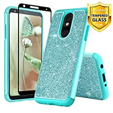 TJS Phone Case for LG Aristo 4 Plus X320/Escape Plus/K30 2019/Arena 2/Prime 2/Tribute Royal/Journey LTE, with [Full Coverage Tempered Glass Screen Protector] Glitter Bling Cute Girls Women (Teal)