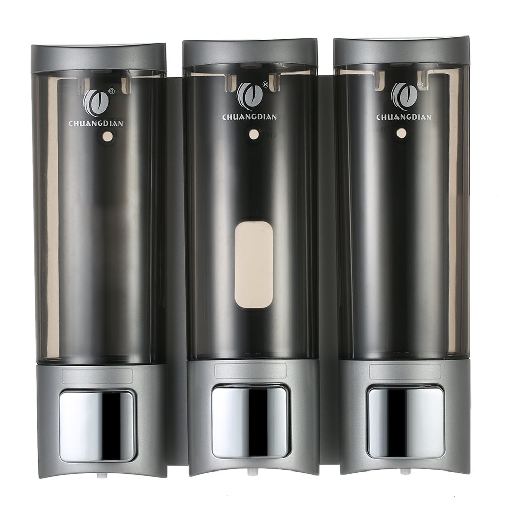 CHUANGDIAN Shampoo Dispensers Wall Mount 3 Chamber,Paste or Punch Installation - 200ml x 3 - Locking Design - Manual Soap Dispensers with Double Sided Foam Tape