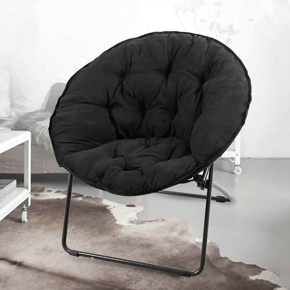 Saucer Chair Folding Chair Moon Chair Sun Chair Lunch Break Lazy Chair Radar Chair Fabric Sofa Round Chair Leisure Chair Black Blingstars