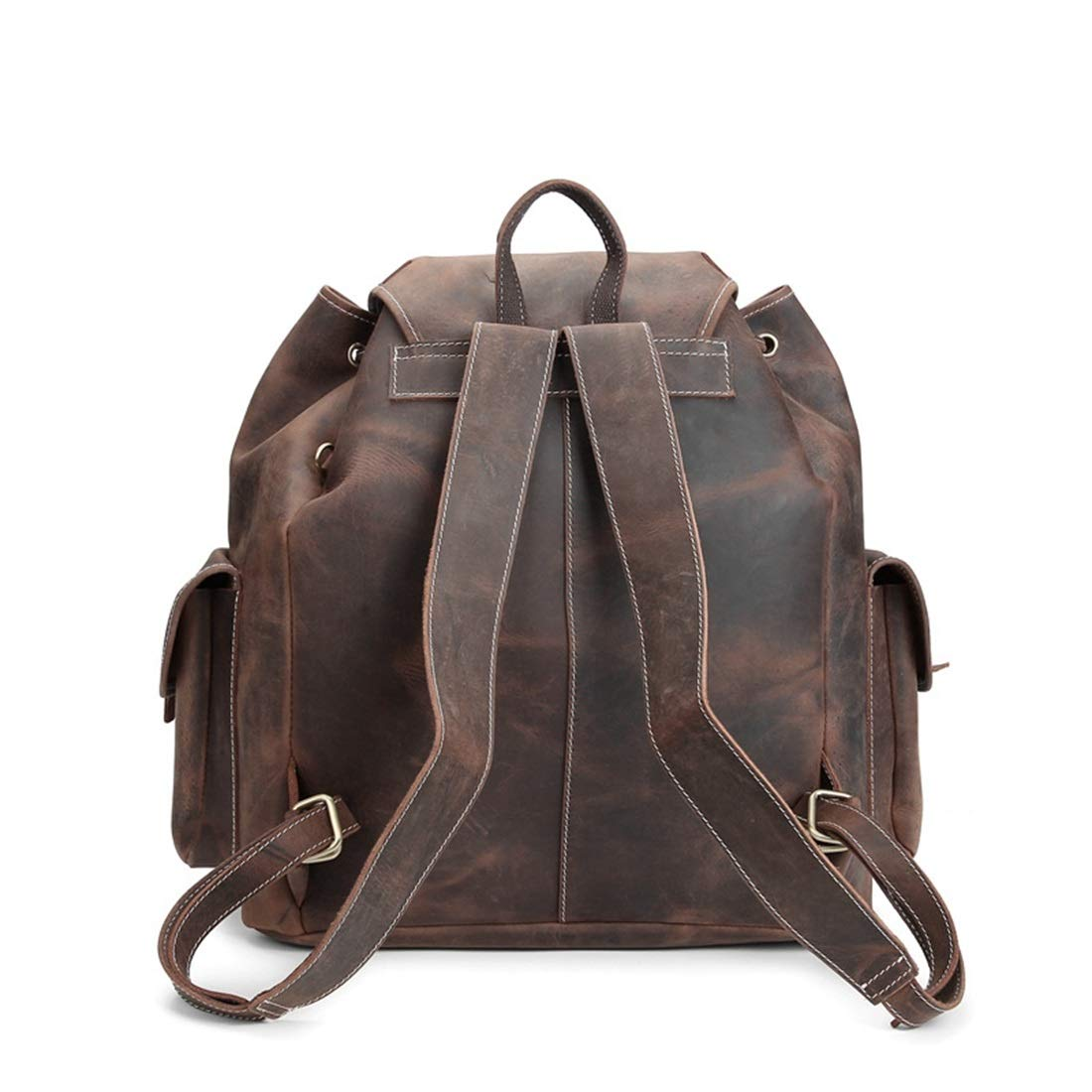 Color : Dark Brown Carriemeow Backpack Mens Shoulder Bag Pure Handmade Leather Bag Travel Business Shopping Leisure Weekend Package