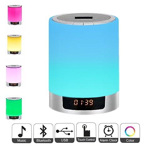 3d89afa63be Luces de noche Altavoz Bluetooth, Lámpara de cabecera Reloj de control  táctil Reloj de alarma