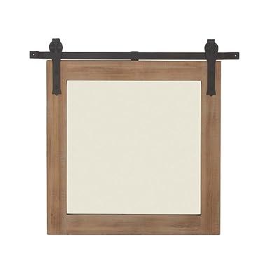 Deco 79 84248 Wood and Metal Wall Mirror, Brown/Black