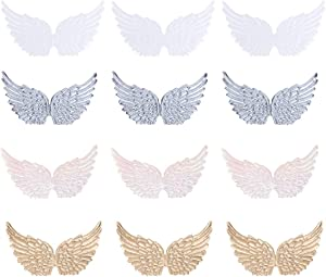 NUOBESTY 12pcs Iron on Patches Angel Wing Shape Embroidered Patches Applique DIY Craft Decoration Sew On Patches for Clothes Jeans Colorful
