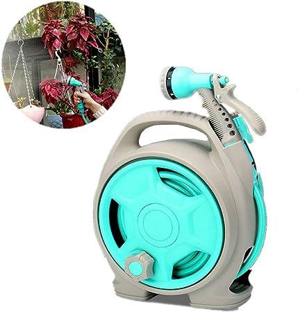 Carrete para manguera de agua para jardín, estante retráctil de almacenamiento de carrete para manguera de