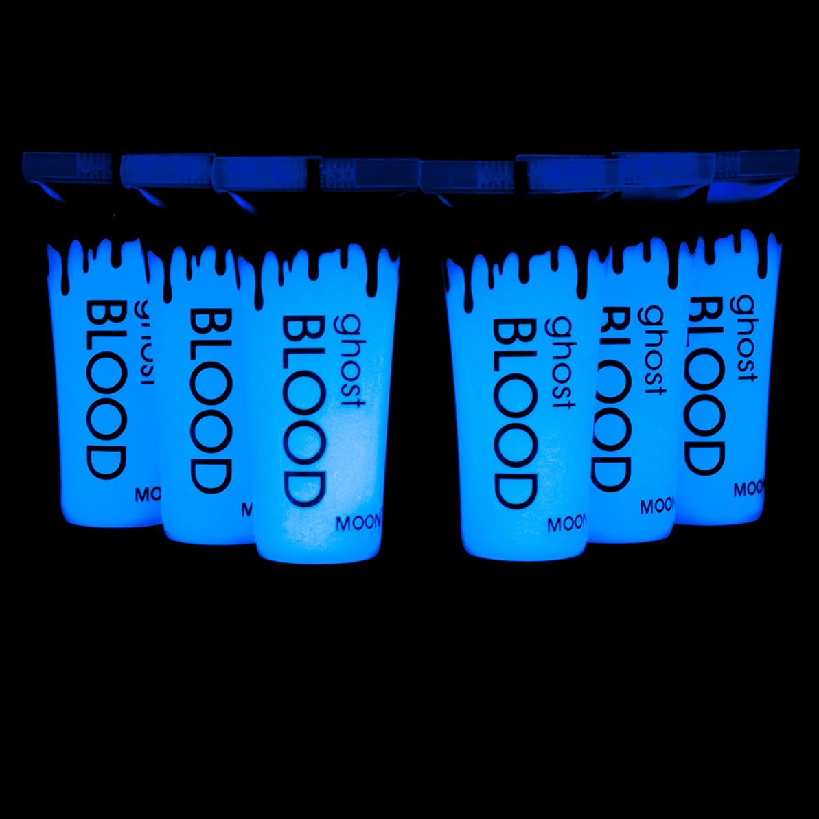 Moon Glow UV Ghost Blood 6x10ml - Halloween Fake Blood - dries invisible but glows blue under UV Lighting