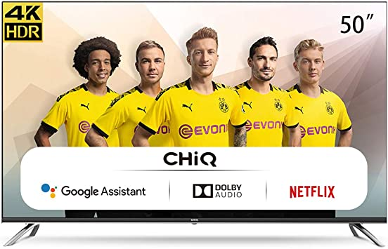 CHiQ Televisor Smart TV LED 50 Pulgadas, 4K UHD, HDR10/HLG, Android 9.0, WiFi, Bluetooth, Netflix, Prime Video, HDMI, USB: Amazon.es: Electrónica