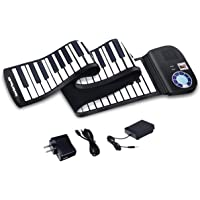 Electric Roll Up Piano, Safeplus Portable Foldable 88 Keys Flexible Soft Silicone Electronic Music Keyboard