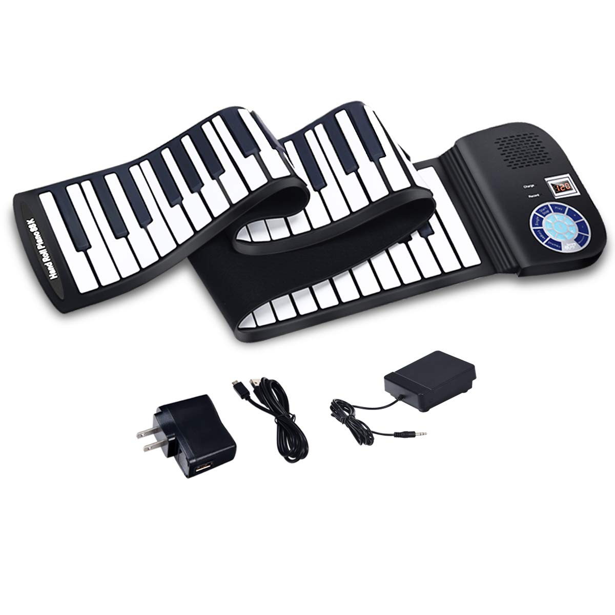 BABY JOY Roll Up Piano, Upgraded Electronic Piano Keyboard, Portable Piano w/Bluetooth, MP3 Headphone USB Input, MIDI OUT, 128 Rhythms, Record, Play, Volume Control (Black, 88Keys) by BABY JOY