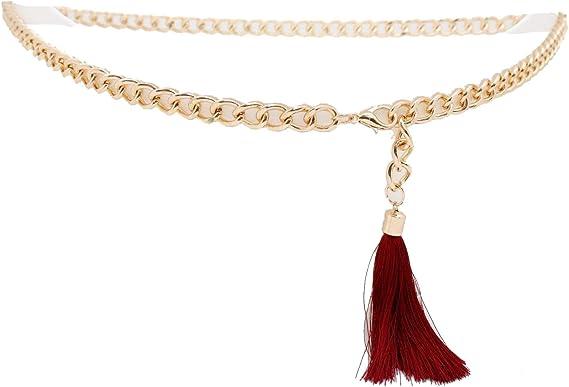 Hot Women Belt Fancy Fashion Waist Hip Gold Metal Chain Red Tassel Buckle XS S M