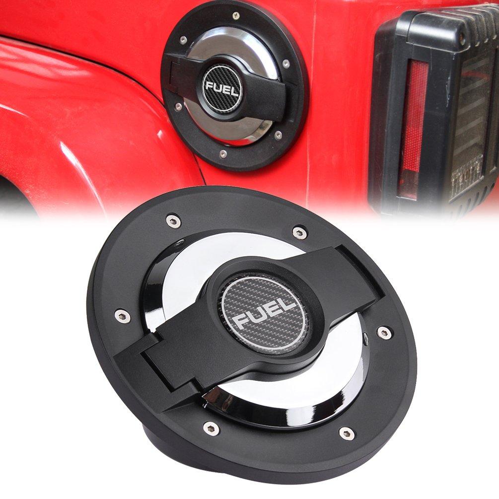 Fuel Filler Door Cover Gas Tank Cap for 2007-2016 Jeep Wrangler JK & Unlimited 4-Door 2-Door SUNPIE