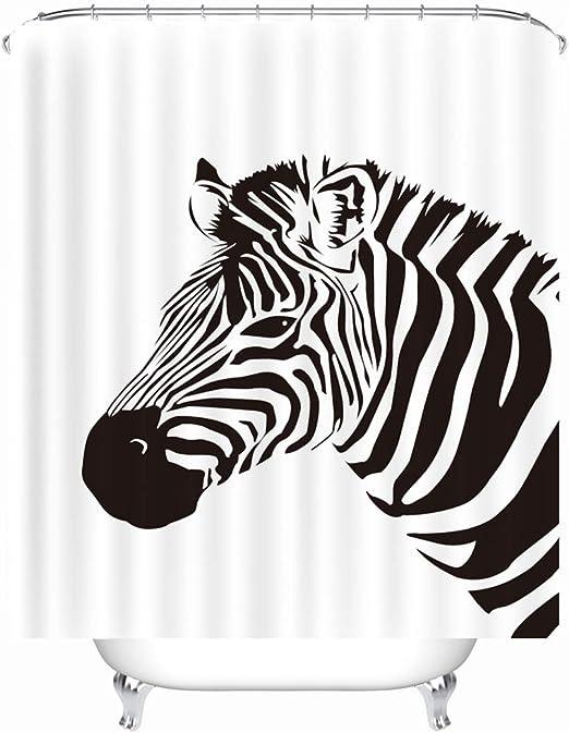 resistente al agua antimoho Cortina de ducha con dise/ño de animales 240 x 200 cm Xlabor incluye 12 anillas para cortina de ducha para ba/ño de cebra