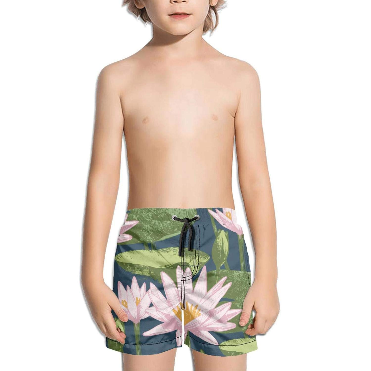 Lenard Hughes Boys Quick Dry Beach Shorts with Pockets Pink Japanese Watercolor Lotus flower-01 Swim Trunks for Summer