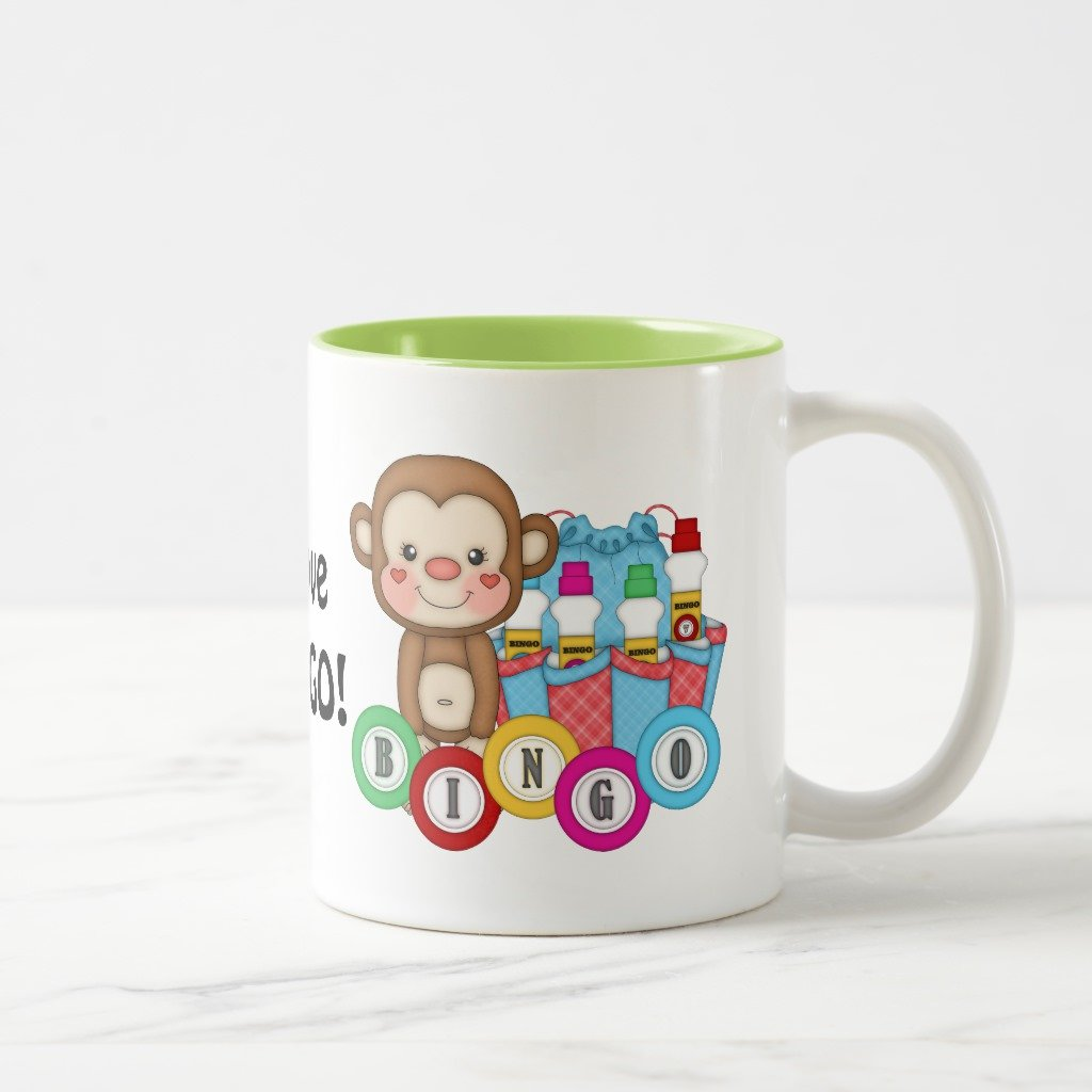 Zazzle I Love Bingo Monkey Coffee Mug, Lime Two-Tone Mug 11 oz