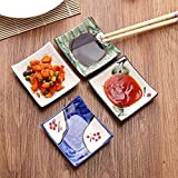 LONGPRO Creative Porcelain Dinnerware Plate Set of 4 Japanese Dipping Sauce Dishes, for Appetizer, Dessert, Salad, Snack, Sushi, Fruit, Bread ( 3.5'')