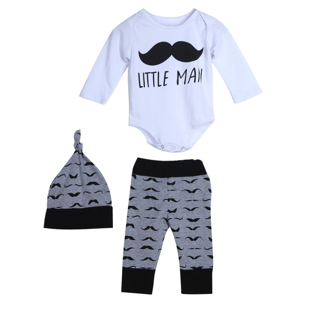 Chinatera 3Pcs Baby Infant Kids Moustache Print Long Sleeve Rompers Pants Hat Outfit