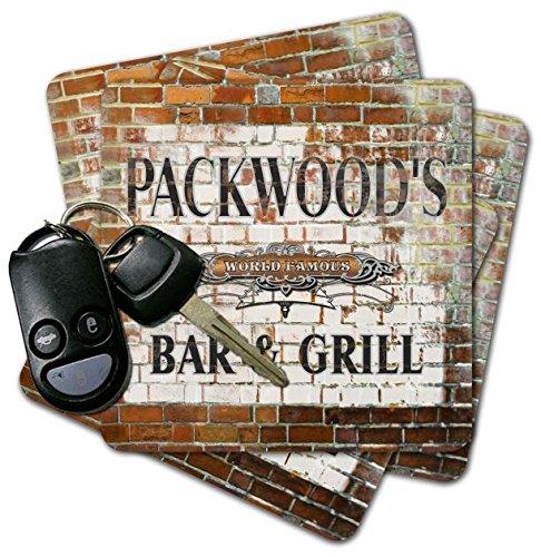 PACKWOOD'S Bar & Grill Brick Wall Coasters - Set of 4