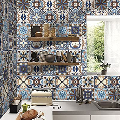3D Tile Stickers 7.87 x 196.85 in - Stylish Backsplash Bathroom & Kitchen Tile Decals Easy to Apply Just Peel & Stick Home Decor DIY Creative Floor Removable Decals Wallpaper Mural Art Decoration