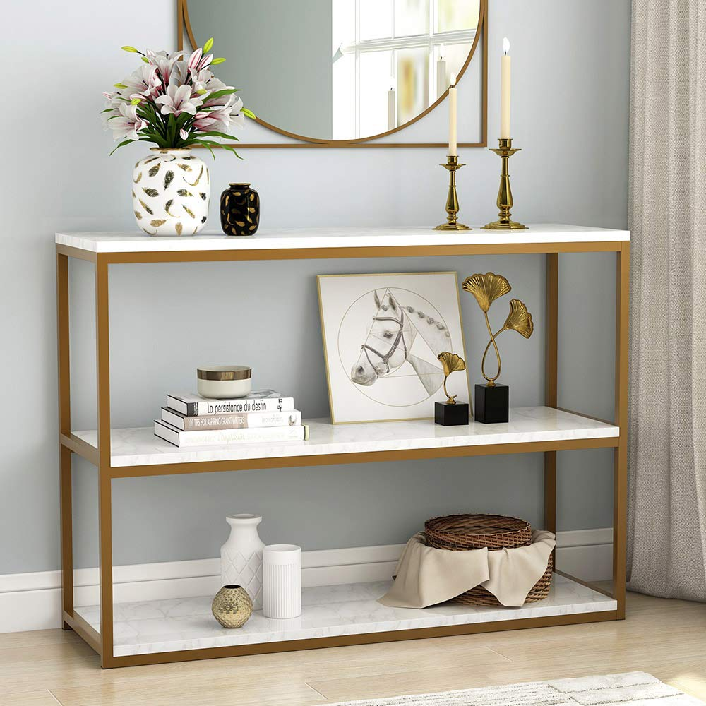 Tribesigns 3-Tier Console Table, Sofa Entry Table with Gold Metal Frame for Home, Creamy White by TRIBESIGNS WAY TO ORIGIN