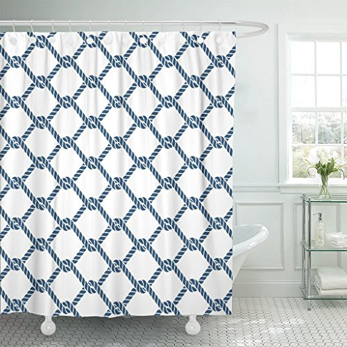 Emvency Shower Curtain Blue Pattern Marine Rope Knot Nautical Navy Ocean Geometric Waterproof Polyester Fabric 72 x 78 Inches Set with Hooks ()