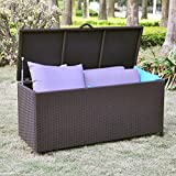 Outdoor Patio Resin Wicker Deck Box Storage Container Bench Seat, 86 Gallon, Anti Rust, All Weather Resistant, Espresso