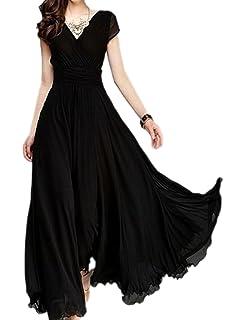 2be1a120623 Naliha Women s Elegant V Neck Short Cap Sleeves Pleated Skater Swing Evening  Maxi Dress