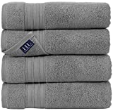 Hammam Linen Ultra Soft Turkish Bath Towels - (27 x 54 inches) - 4 Pieces Towel Set - 100% Cotton Towels (Cool Grey)