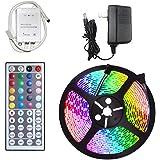 Tira de luces LED econoLED, 5 m, 300 leds RGB, tira de luz LED 3528, impermeable, cambia de color, tira de luces LED con mand