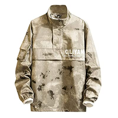 WINJUD Mens Outwear Camouflage Patchwork Pullover High Collar Sport Pocket Casual Sweatshirts at Men's Clothing store