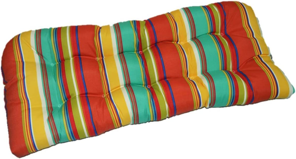 Indoor Outdoor Cushion For Wicker Loveseat Settee Turquoise Yellow Blue Red Coral Green White Colorful Bright Stripe Kitchen Dining