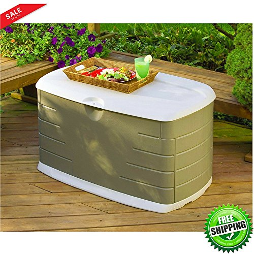Patio Storage Container Water Resistand Outdoor Deck Box Organizer Ottoman Deck 2 Adults Seat Durable Patio Bench Pool Equipment Patio Pillows Backyard Toy Storage GardenTools & eBook by BADA shop by BS