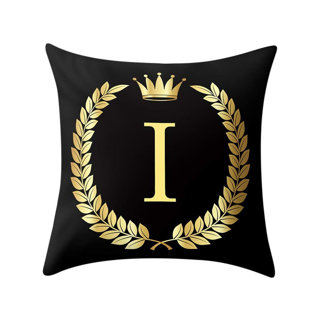 Letter Pillow Case Covers Bronzing Throw Pillow Case 18x18'' English Alphabets Cushion Cover Modern Square Pillowcase for Home Sofa Couch Decor (I)
