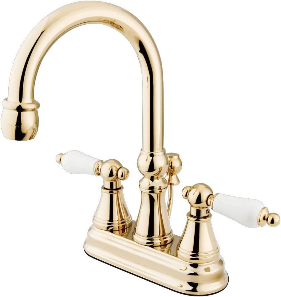 "Nuvo ES2612PL Elements of Design Madison 2-Handle 4"" Center Set Lavatory Faucet with Brass Pop-Up, 4-7/8"", Polished Brass"