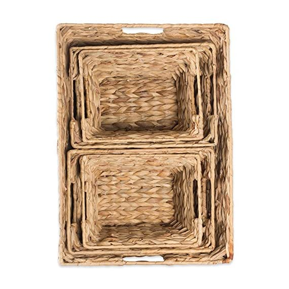 """DII Natural Water Hyacinth Storage Basket with Handles, Beige - SET OF 5 BASKETS: Includes two small (9x7x6""""), two medium (11x9x7""""), and one large (12.6x9x7.88"""") hyacinth baskets HAND-WOVEN: These baskets are hand-woven for that unique charm, so actual sizes may vary slightly SUFFICIENT STORAGE WITH STRONG CONSTRUCTION: Hyacinth storage baskets have a strong woven design with carrying handles for easy carrying - living-room-decor, living-room, baskets-storage - 617xrp9 sqL. SS570  -"""