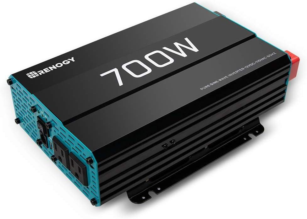 Renogy 700W 12V Pure Sine Wave Off Grid Solar Home use Inverter 700 Watt 12 Volt Battery Power Converter (Renewed)